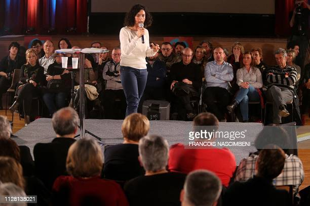 Leftist La France Insoumise party member and candidate for the upcoming European elections Manon Aubry speaks during a meeting in...
