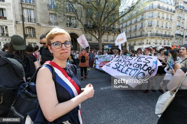 Leftist La France Insoumise party MP Clementine Autain takes part in a demonstration on April 19 2018 in Paris as part of a multi branch day of...