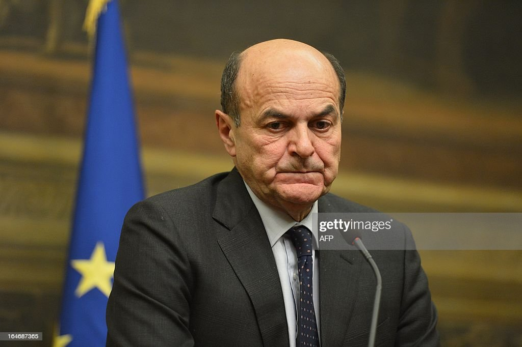 Leftist leader Pier Luigi Bersani gives a press conference following talks with centre-right leaders on March 26, 2013 at the Italian lower-house in Rome