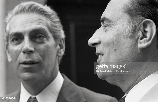 Leftist Radical Party general secretary Robert Fabre meets Parti Socialiste leader Francois Mitterrand at his residence in Rue de Bievres Fabre was...