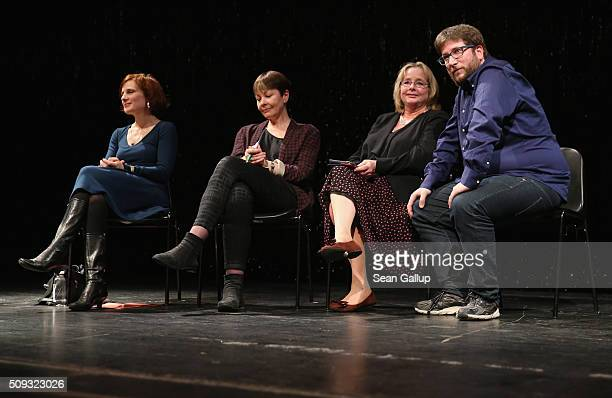 Leftleaning European politicians Katja Kipping of Germany Caroline Lucas of the United Kingdom Nessa Childers of Ireland and Miguel Crespo Urban of...