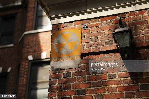 A leftover fallout shelter sign one of hundreds in New York is displayed on a building on August 11 2017 in New York City The signs signifying a...