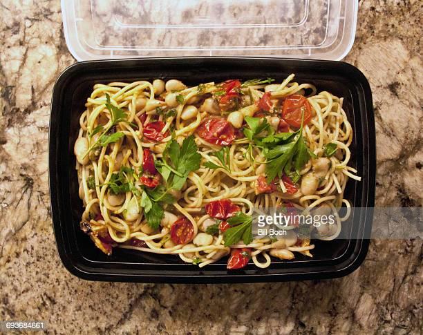 Leftover spaghetti tomatoes beans