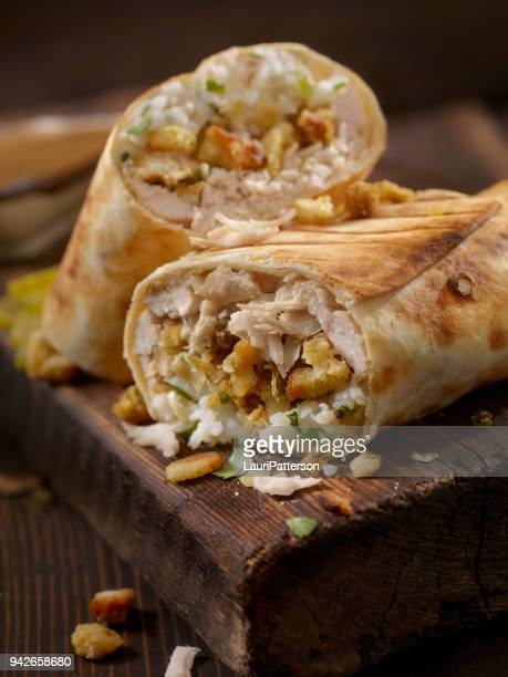 leftover turkey dinner burrito - burrito stock pictures, royalty-free photos & images