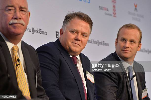 Left-Right: Albert Helmig, Christopher Blake and Pierre Andurand appear on stage on Day 1 at the International New York Times/Energy Intelligence Oil...