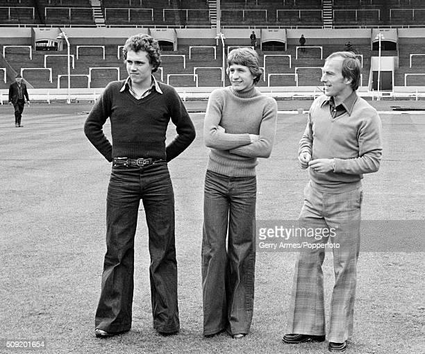 Leftright David Hughes Gordon Cowans and Ray Graydon of Aston Villa on the pitch as the Villa team enjoy a look around Wembley Stadium in preparation...