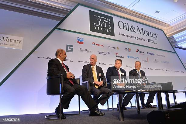 LeftRight Fereidun Fesharaki Albert Helmig Christopher Blake and Pierre Andurand appear on stage on Day 1 at the International New York Times/Energy...