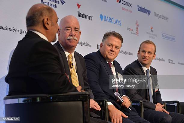Left-Right: Fereidun Fesharaki, Albert Helmig, Christopher Blake and Pierre Andurand appear on stage on Day 1 at the International New York...