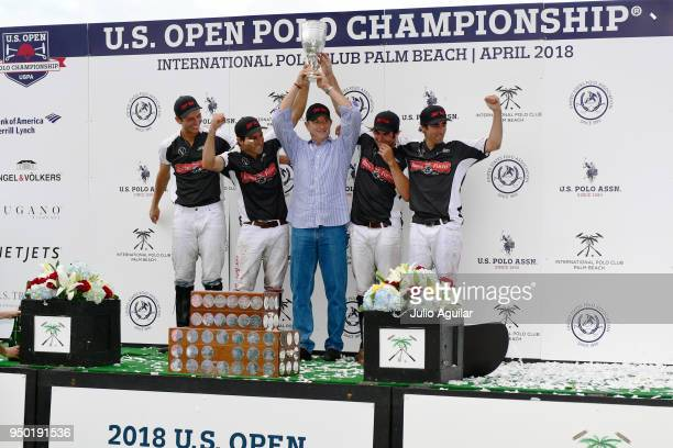 [LeftRight] Member of The Daily Racing Form Jared Zenni Hilario Ulloa Sponsor Jim Zenni Mariano Obregon and Agustin Obregon celebrate after winning...
