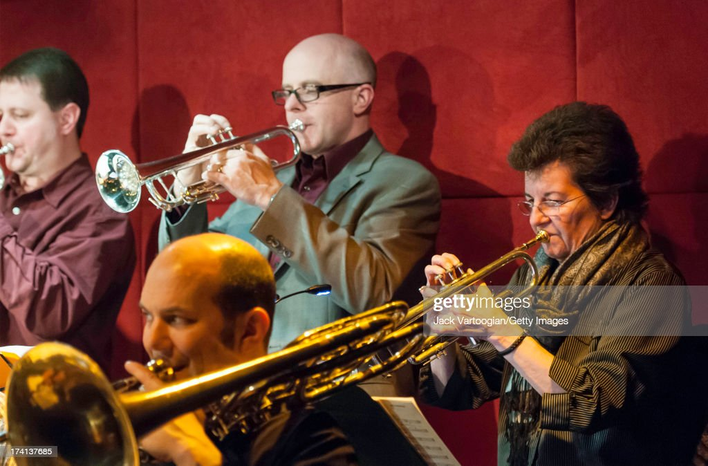 Jazz trumpet players Jon Owens, Dave Ballou, and Laurie Frink