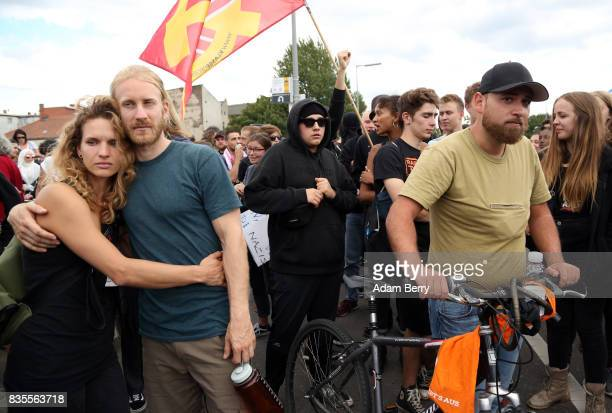Leftwing activists block the path of a march of NeoNazis at an extreme rightwing demonstration commemorating the 30th anniversary of the death of...