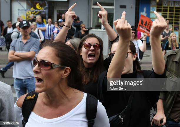 Leftwing activists protest against NeoNazis at an extreme rightwing demonstration commemorating the 30th anniversary of the death of Nazi leader...