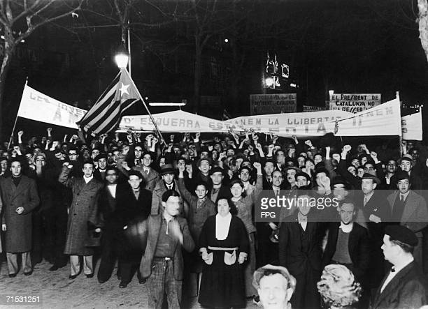 Leftwing Catalan Nationalists demand autonomy for the region with a demonstration in Las Ramblas Barcelona 20th February 1936