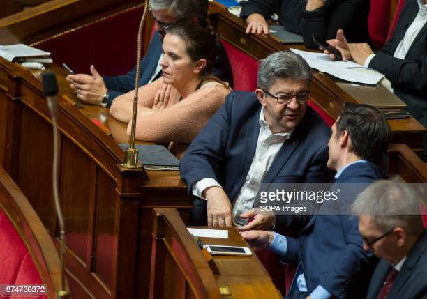 Leftwing French politician Jean Luc Melenchon seen attending a session of questions to the government at the National Assembly