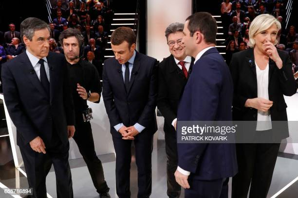 Leftwing French Socialist party Benoit Hamon stands in front of rightwing Les Republicains party Francois Fillon En Marche movement Emmanuel Macron...