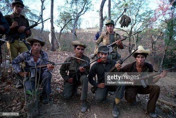 Leftwing guerrillas from the Fuerzas Populares de Liberación FPL pose with their rifles in Santa Anita Chalatenango department El Salvador on...