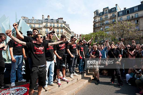 Left-wing militants pay tribute to Clement Meric, a young activist who died after being severely beaten in a fight with skinheads on June 6, 2013 in...