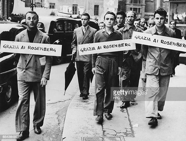 Leftwing pickets outside the US Consulate in Milan Italy campaigning for clemency for American couple Julius and Ethel Rosenberg who are facing the...