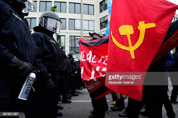 Left-wing protesters clash with police on May 1, 2014 in Hamburg, Germany. Left-wing activists from across Germany gathered in Hamburg today to take...