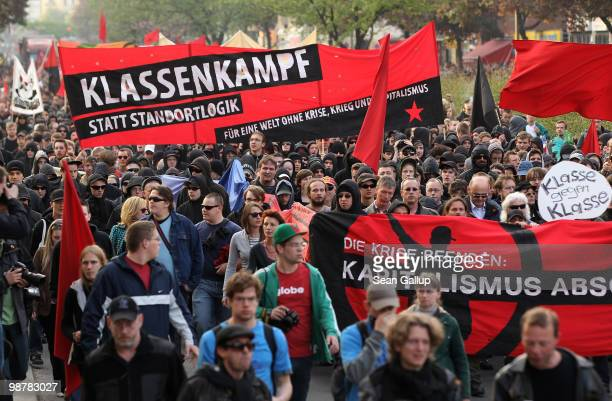Leftwing protesters march in the 'Revolutionary 1st of May' demonstration in Kreuzberg district on May 1 2010 in Berlin Germany Demonstrators later...
