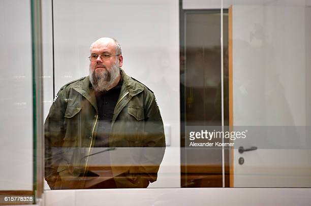 Leftwing Salafi Bernhard Falke arrives in court as a visitor at the first day of trial against Safia S at the Oberlandesgericht Celle courthouse on...
