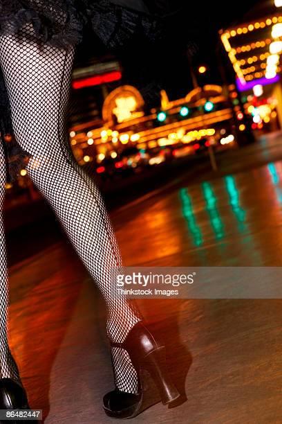 Leg of woman at night