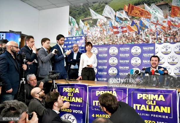 Lega far right party leader Matteo Salvini speaks during a press conference held at the Lega headquarter in Milan on March 5 2018 ahead of the...