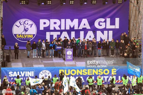 Lega Nord far right party leader Matteo Salvini address supporters during campaign rally on Piazza Duomo in Milan on February 24 2018 a week ahead of...