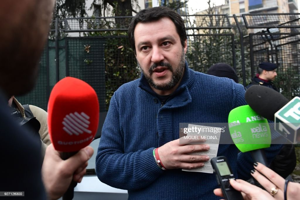 Lega Nord far right party leader Matteo Salvini, arrives to vote for general elections at a polling station on March 4, 2018 in Milan. Italians vote today in one of the country's most uncertain elections, with far-right and populist parties expected to make major gains. / AFP PHOTO / Miguel MEDINA