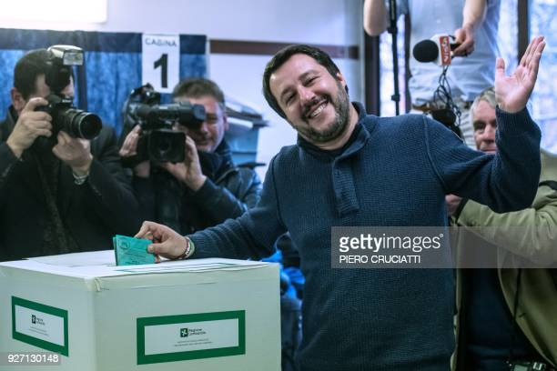 Lega Nord far right party leader Matteo Salvini votes for general elections on March 4 2018 at a polling station in Milan Italians vote today in one...