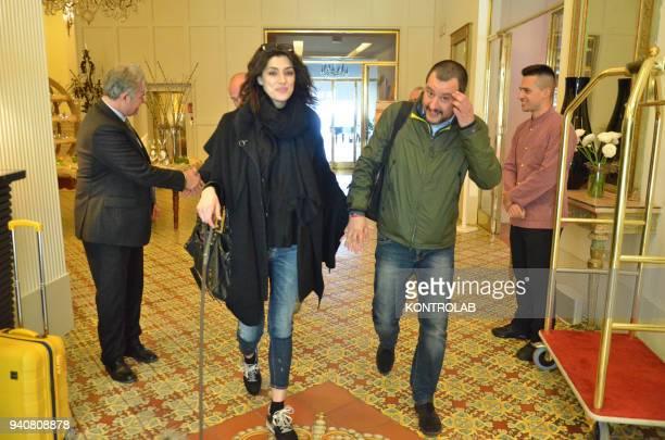 Lega Nord party leader Matteo Salvini leaves the hotel Regina isabella with his partner Elisa Isoardi after Easter hoidays