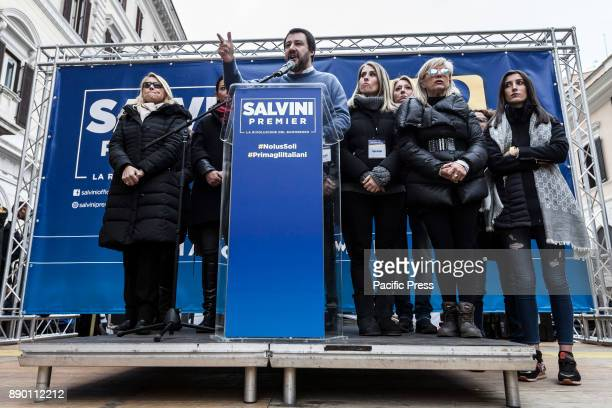 Lega Nord party leader Matteo Salvini takes part at the demonstration against the 'Ius Soli' law in Rome Italy on December 10 2017 The North League...