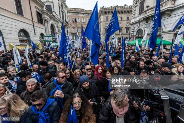 Lega Nord party supporters demonstrate against the 'Ius Soli' law in Rome Italy on December 10 2017 The North League called a demonstration against...