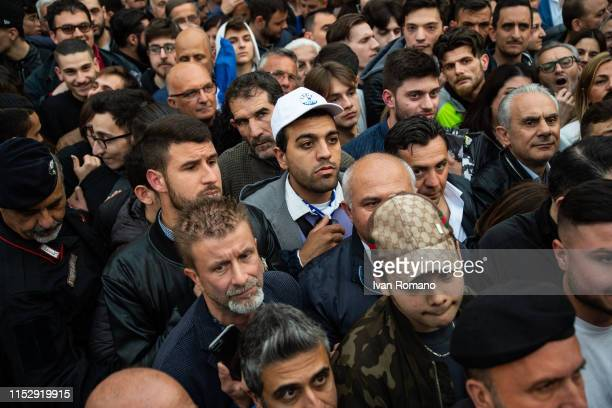 Lega party supporters lined up for selfies with Minister Matteo Salvini on May 31 2019 in Aversa Italy Interior Minister Matteo Salvini after winning...