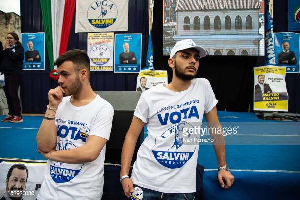 Lega party sympathizers await the start of the election rally on May 31 2019 in Aversa Italy Interior Minister Matteo Salvini after winning the...