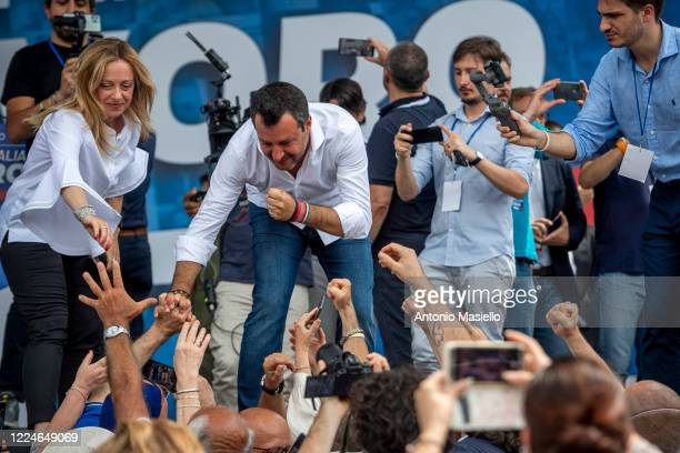 Lega political party leader Matteo Salvini and Giorgia Meloni Fratelli d'Italia leader attend the demonstration organized by Lega Political party...