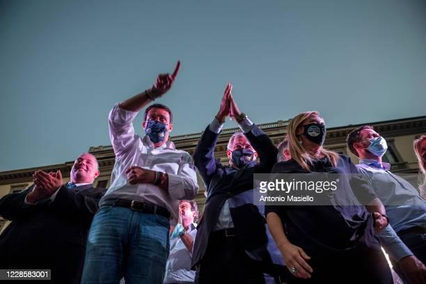 Lega Political party leader Matteo Salvini Antonio Tajani and Giorgia Meloni attend the closure event of the rightwing regional election campaign on...
