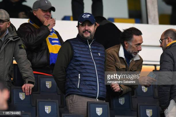 Lega Political Party Leader Matteo Salvini during the Serie A match between Parma Calcio and AC Milan at Stadio Ennio Tardini on December 1 2019 in...