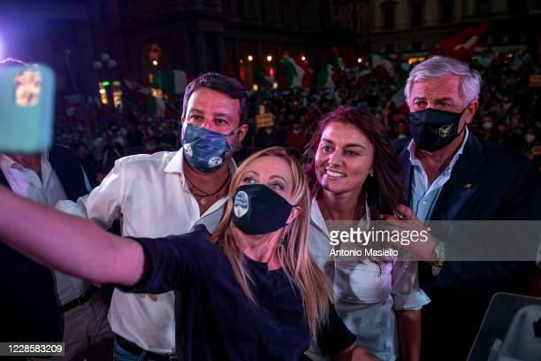 Lega Political party leader Matteo Salvini Giorgia Meloni Susanna Ceccardi and Antonio Tajani take a selfie during the closure event of the rightwing...