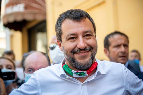 ITA: Matteo Salvini Protest In Piazza Montecitorio