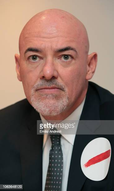 Lega Serie A CEO Marco Brunelli looks on during the Lega Serie A 'Un Rosso Alla Violenza' press conference on November 20 2018 in Milan Italy