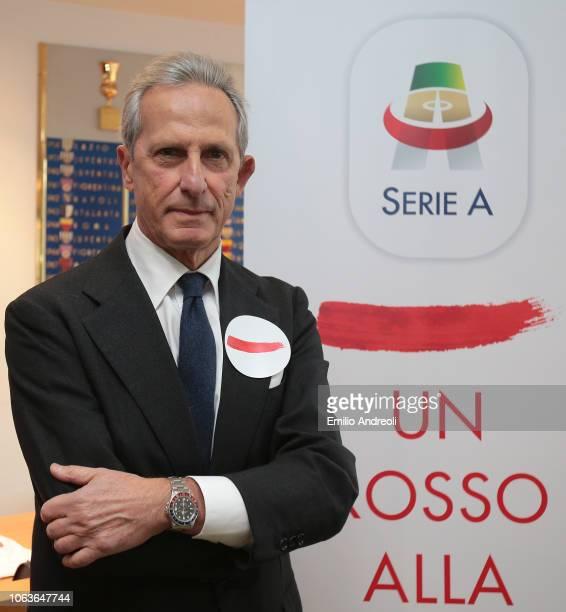Lega Serie A President Gaetano Micciche attends the Lega Serie A 'Un Rosso Alla Violenza' press conference on November 20 2018 in Milan Italy