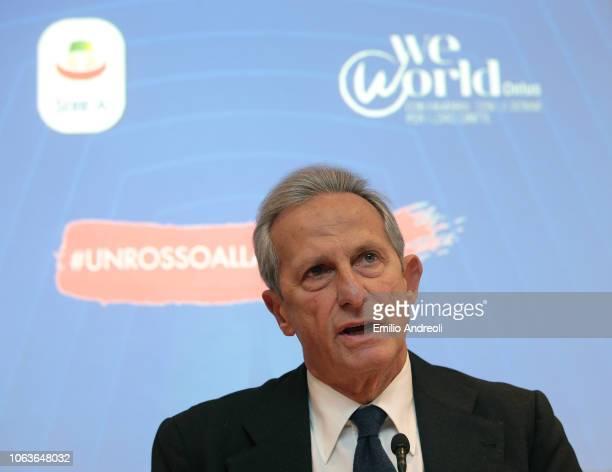 Lega Serie A President Gaetano Micciche delivers a speach during the Lega Serie A 'Un Rosso Alla Violenza' press conference on November 20 2018 in...