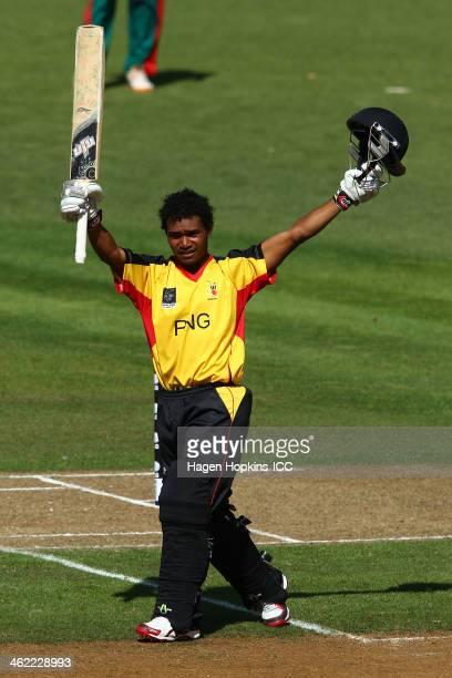 Lega Siaka of Papua New Guinea celebrates his century during the ICC Cricket World Cup Qualifier match between Kenya and Papua New Guinea at Pukekura...