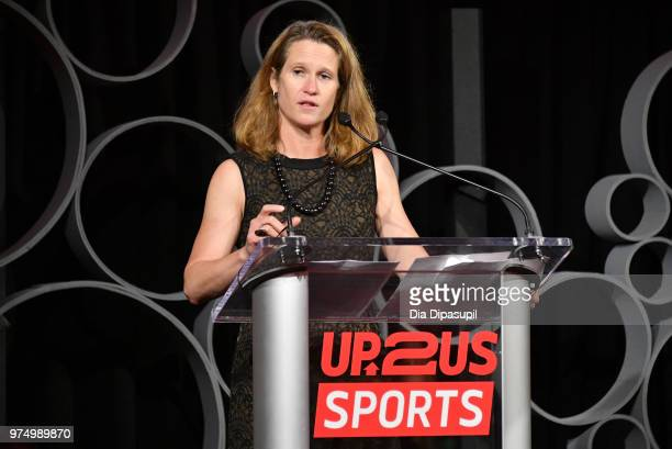 Legacy Award Winner Kathy Carter speaks onstage during the 2018 Up2Us Sports Gala celebrates Service Through Sports at Guastavino's on June 14 2018...