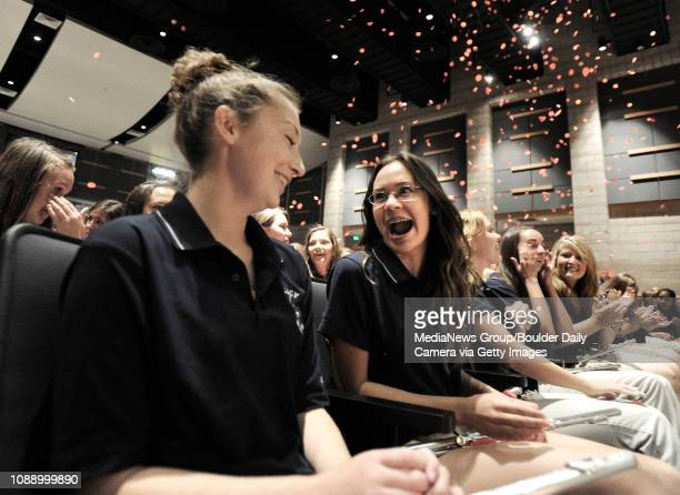 Legacy High School Band members Isabelle Boucher at left and Julia Kallis react on Wednesday Sept 25 after learning that they will be performing at...