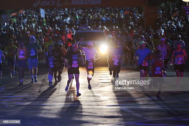 Legacy Runners start the 30th Los Angeles Marathon at Dodger Stadium March 15 2015 in Los Angeles California