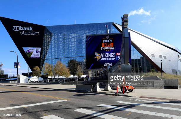 Legacy Ship and Mast outside U.S. Bank Stadium, home of the Minnesota Vikings football team in Minneapolis, Minnesota on October 13, 2018.