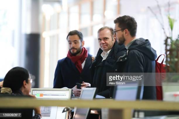Legal adviser Dr. Philipp Goebel, CEO Bernd Hoffmann, fan liaison officer Cornelius Goebel of Hamburger SV arrive for a DFB Sports Court appeal of...