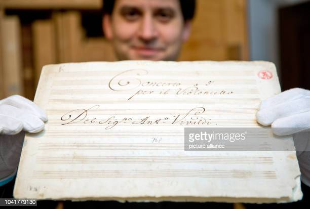Legal advisor of the sheet music archive of the Count of Schoenborn Peter Stingel presents sheet music by Italian composer Antonio Vivaldi at the...